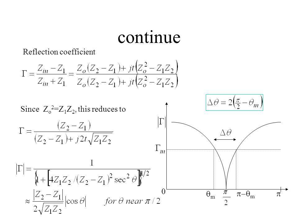 continue Reflection coefficient Since Zo2=Z1Z2, this reduces to qm