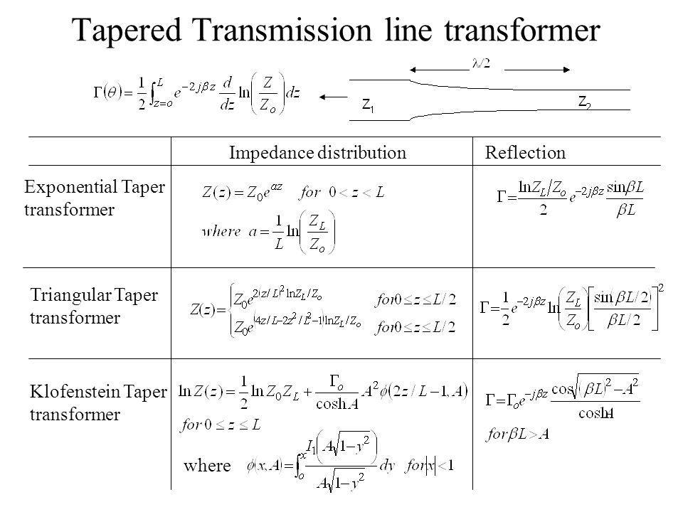 Tapered Transmission line transformer