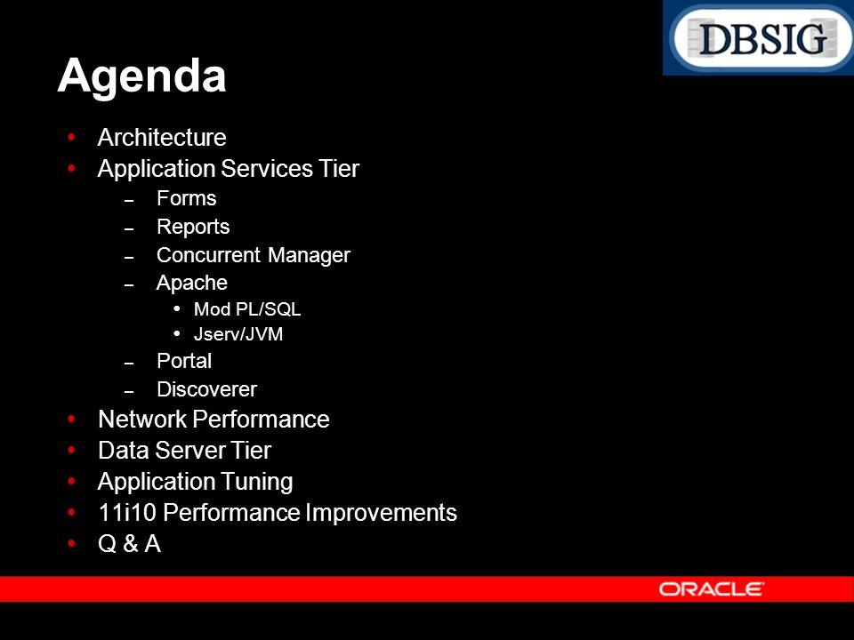 Agenda Architecture Application Services Tier Network Performance