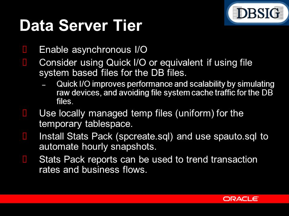 Data Server Tier Enable asynchronous I/O