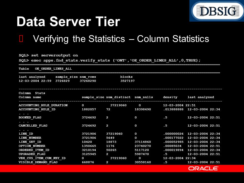 Data Server Tier Verifying the Statistics – Column Statistics