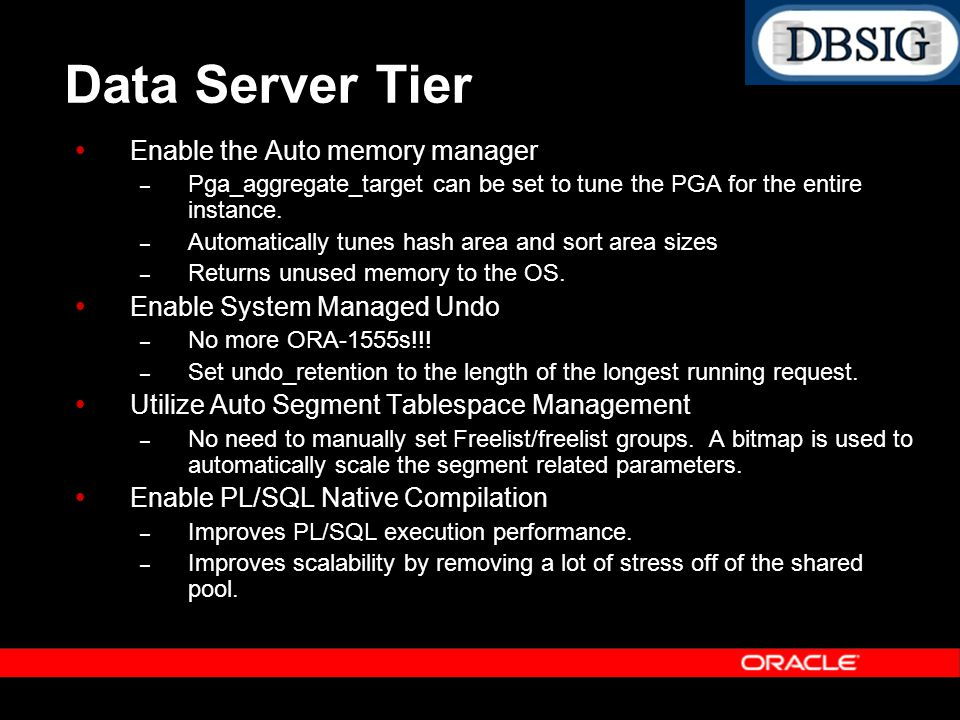 Data Server Tier Enable the Auto memory manager