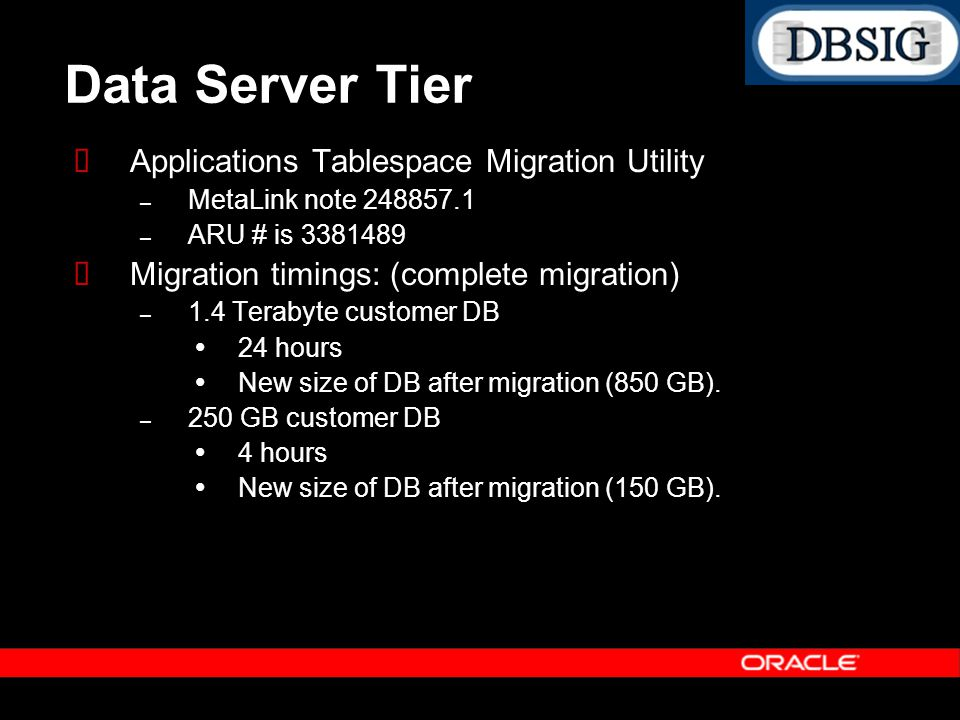Data Server Tier Applications Tablespace Migration Utility