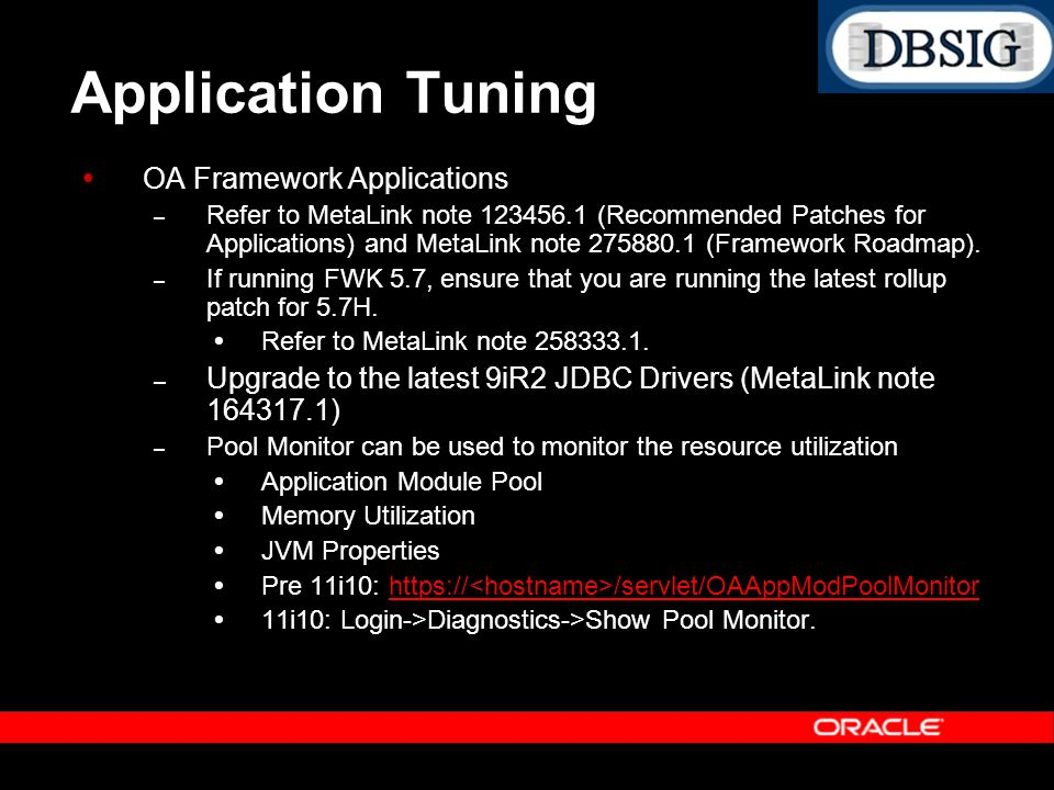 Application Tuning OA Framework Applications