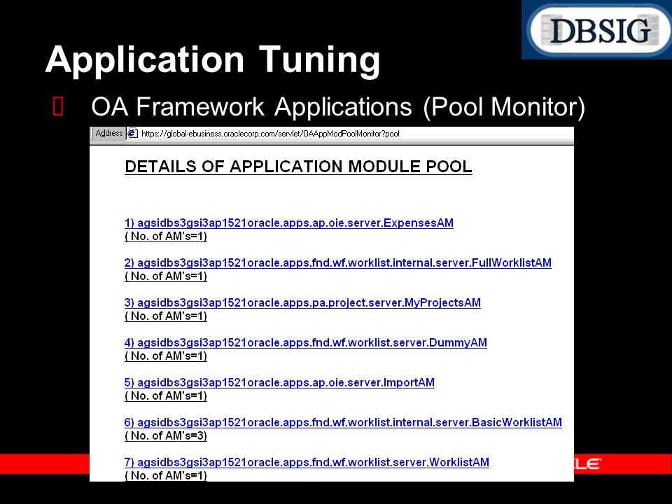 Application Tuning OA Framework Applications (Pool Monitor)