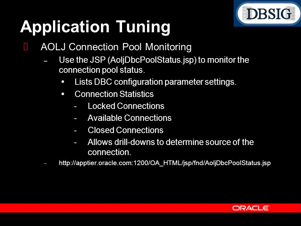 Application Tuning AOLJ Connection Pool Monitoring