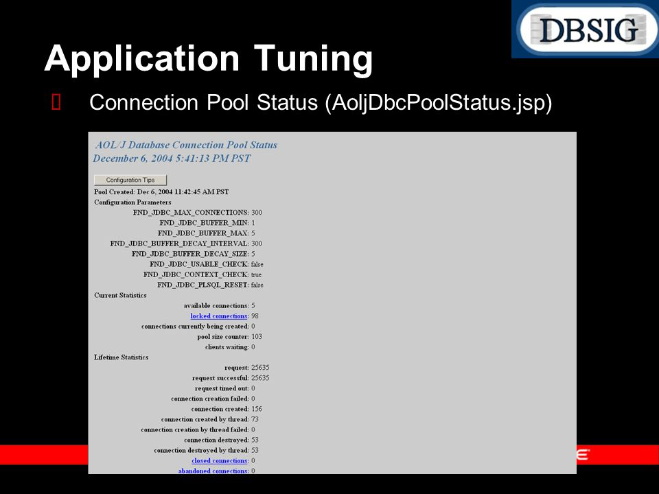 Application Tuning Connection Pool Status (AoljDbcPoolStatus.jsp)