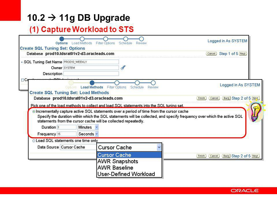 10.2  11g DB Upgrade (1) Capture Workload to STS