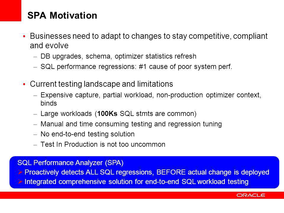 SPA Motivation Businesses need to adapt to changes to stay competitive, compliant and evolve. DB upgrades, schema, optimizer statistics refresh.