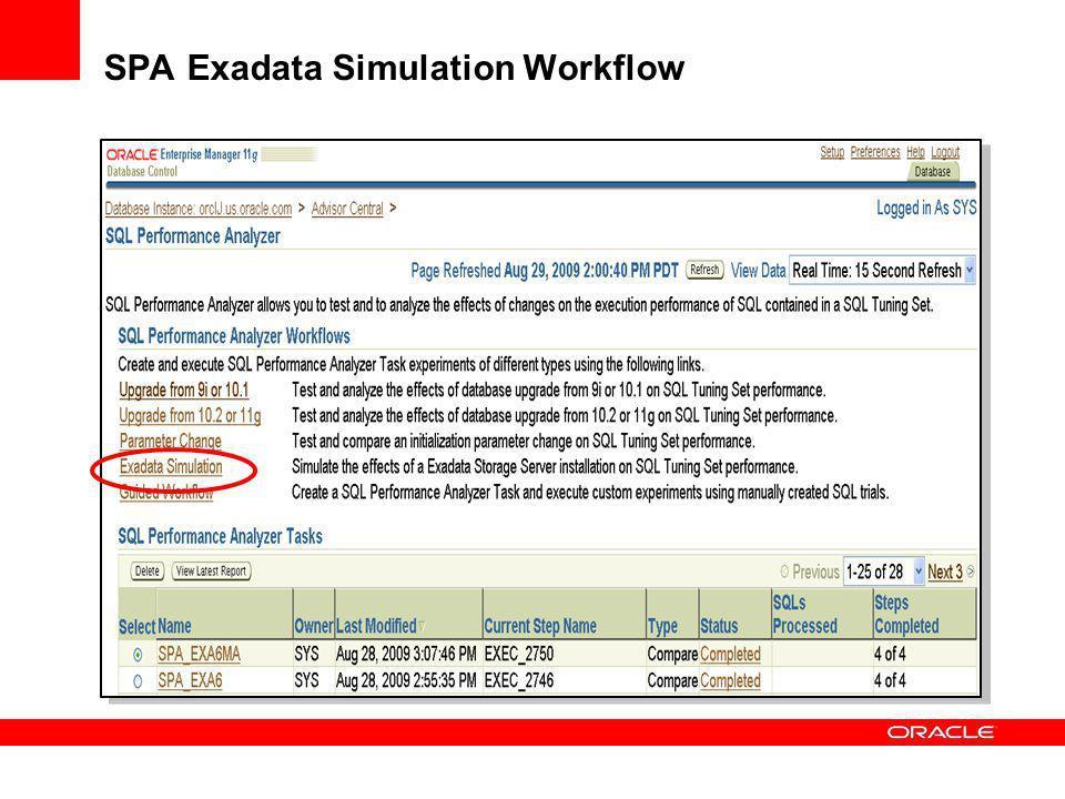 SPA Exadata Simulation Workflow