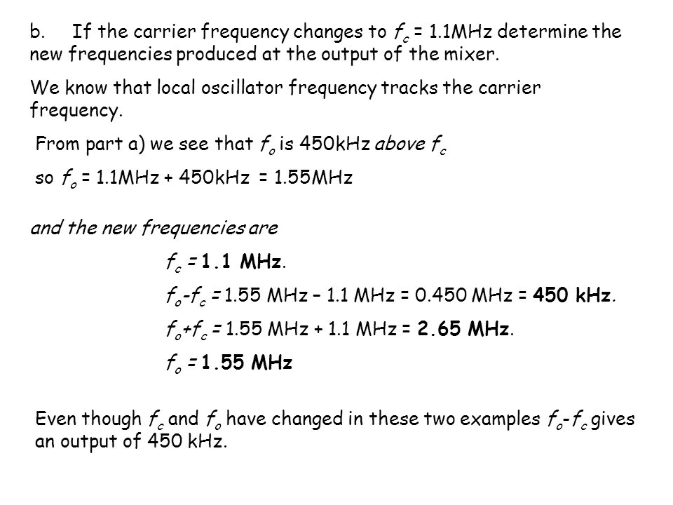 b. If the carrier frequency changes to fc = 1