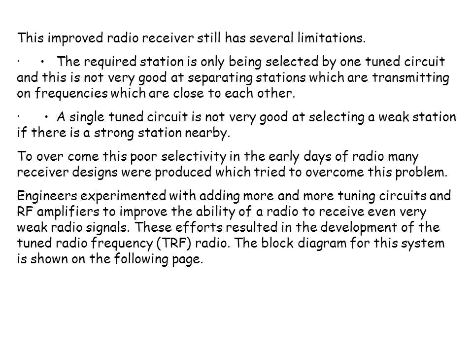 This improved radio receiver still has several limitations.