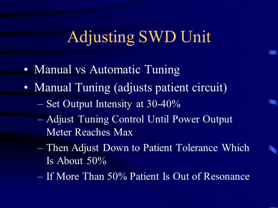 Adjusting SWD Unit Manual vs Automatic Tuning