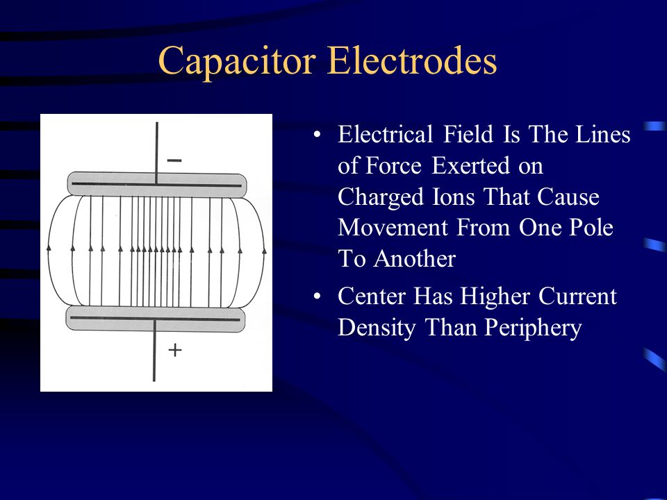 Capacitor Electrodes Electrical Field Is The Lines of Force Exerted on Charged Ions That Cause Movement From One Pole To Another.