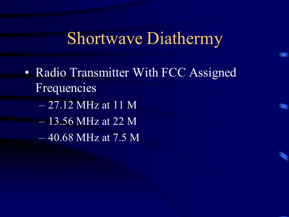 Shortwave Diathermy Radio Transmitter With FCC Assigned Frequencies