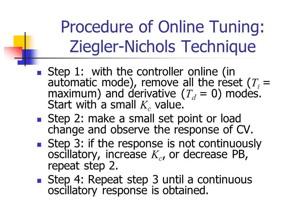 Procedure of Online Tuning: Ziegler-Nichols Technique