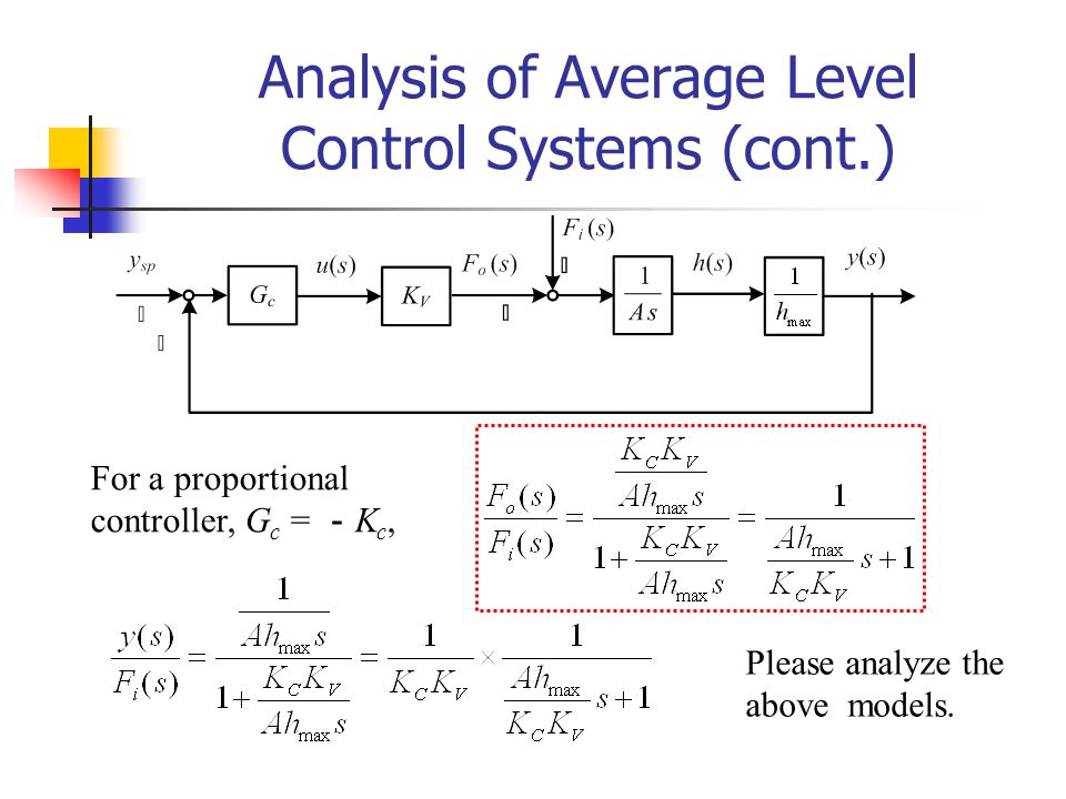 Analysis of Average Level Control Systems (cont.)