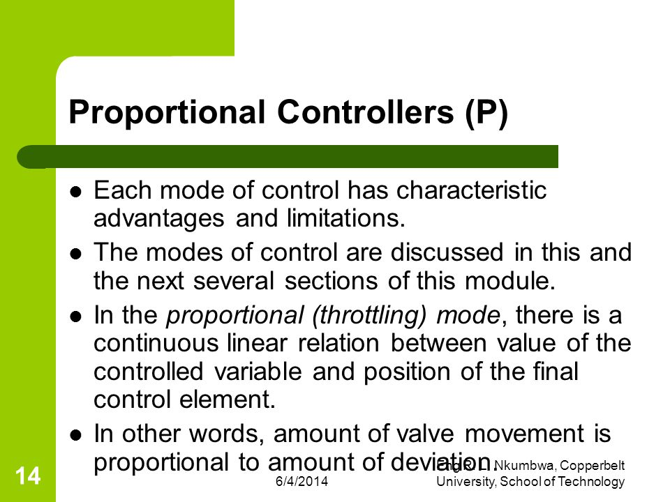 Proportional Controllers (P)