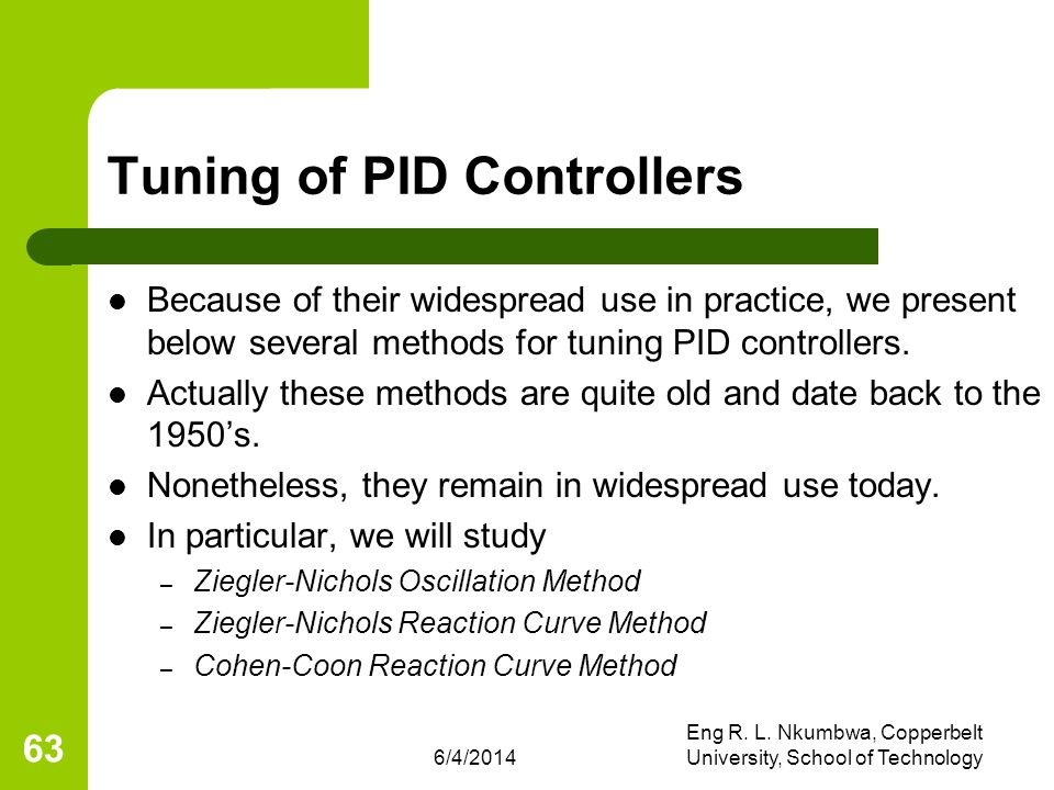 Tuning of PID Controllers