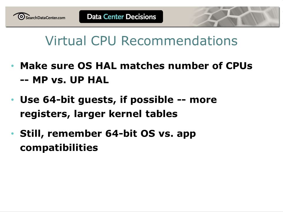 Virtual CPU Recommendations
