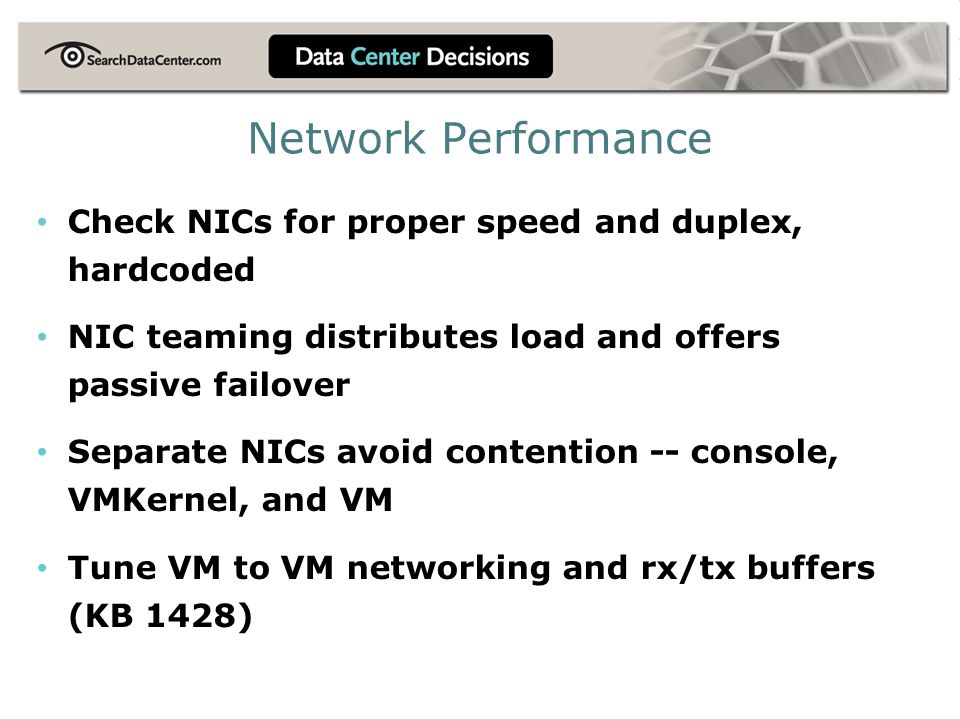Network Performance Check NICs for proper speed and duplex, hardcoded