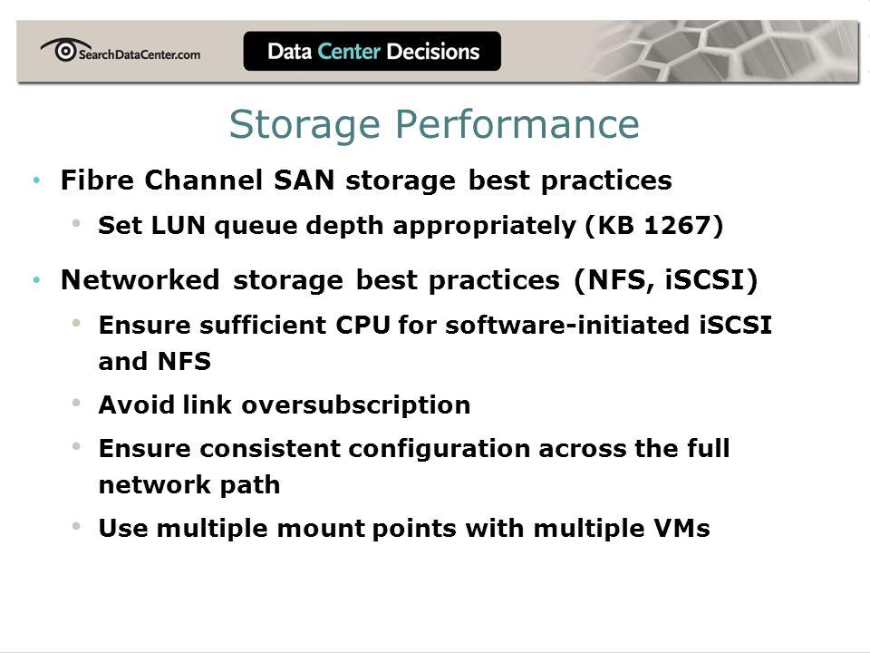 Storage Performance Fibre Channel SAN storage best practices