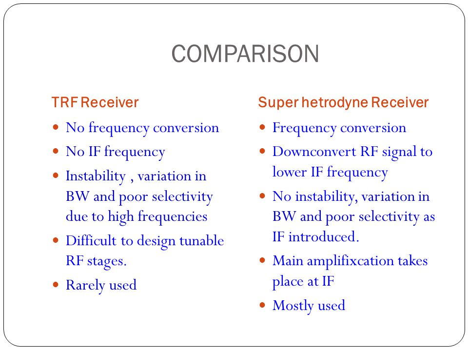 COMPARISON No frequency conversion No IF frequency