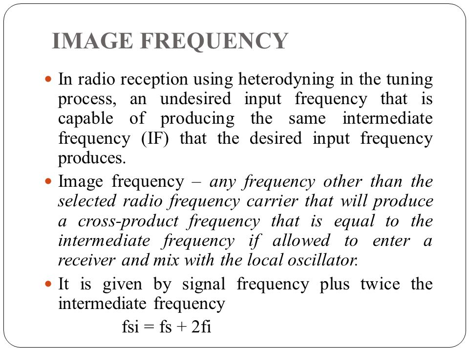 IMAGE FREQUENCY