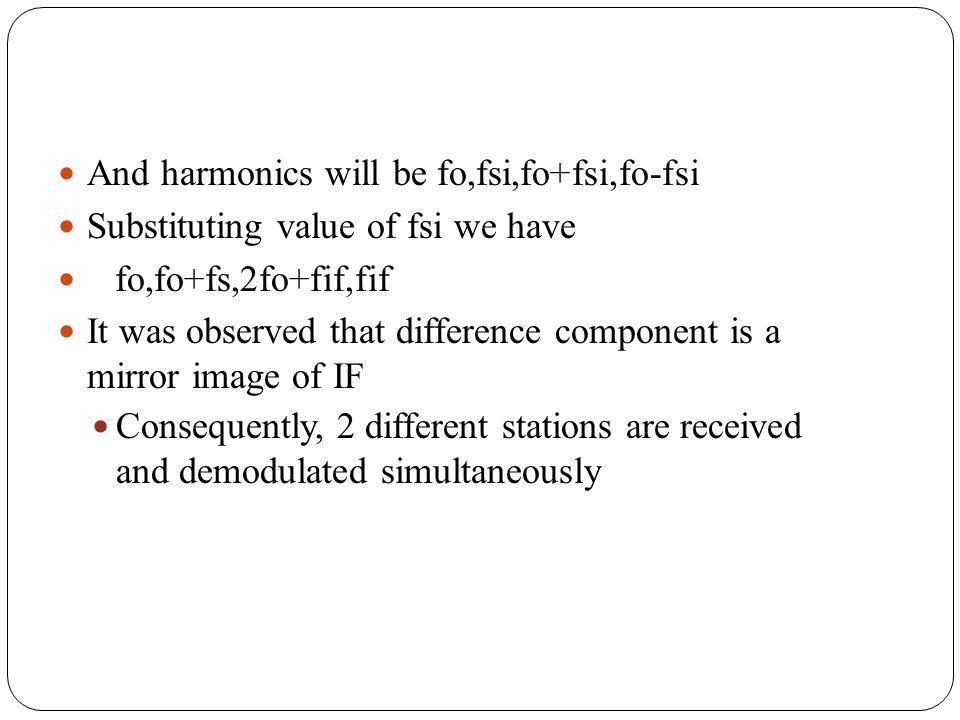 And harmonics will be fo,fsi,fo+fsi,fo-fsi