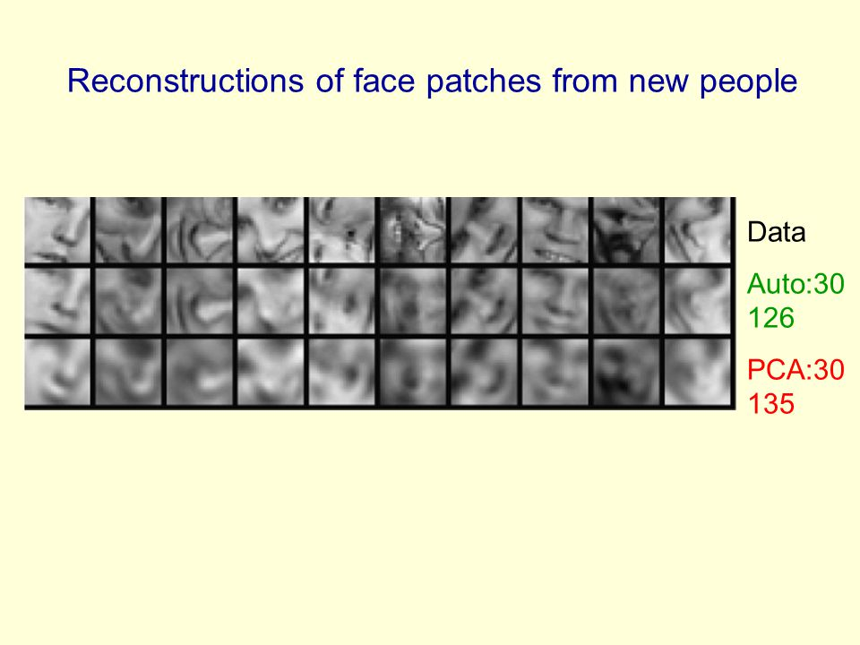 Reconstructions of face patches from new people