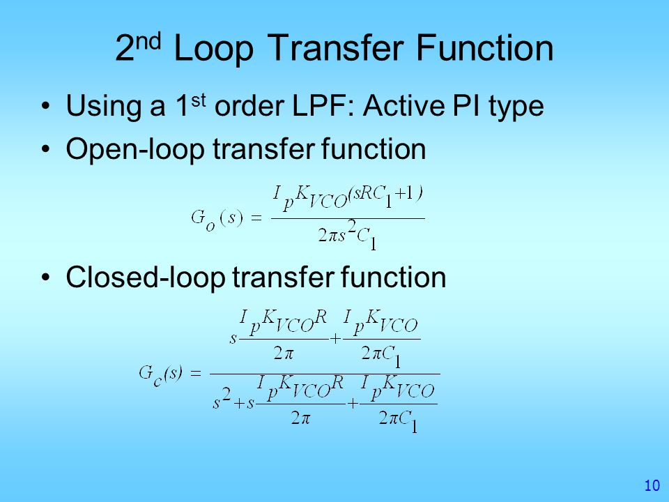2nd Loop Transfer Function