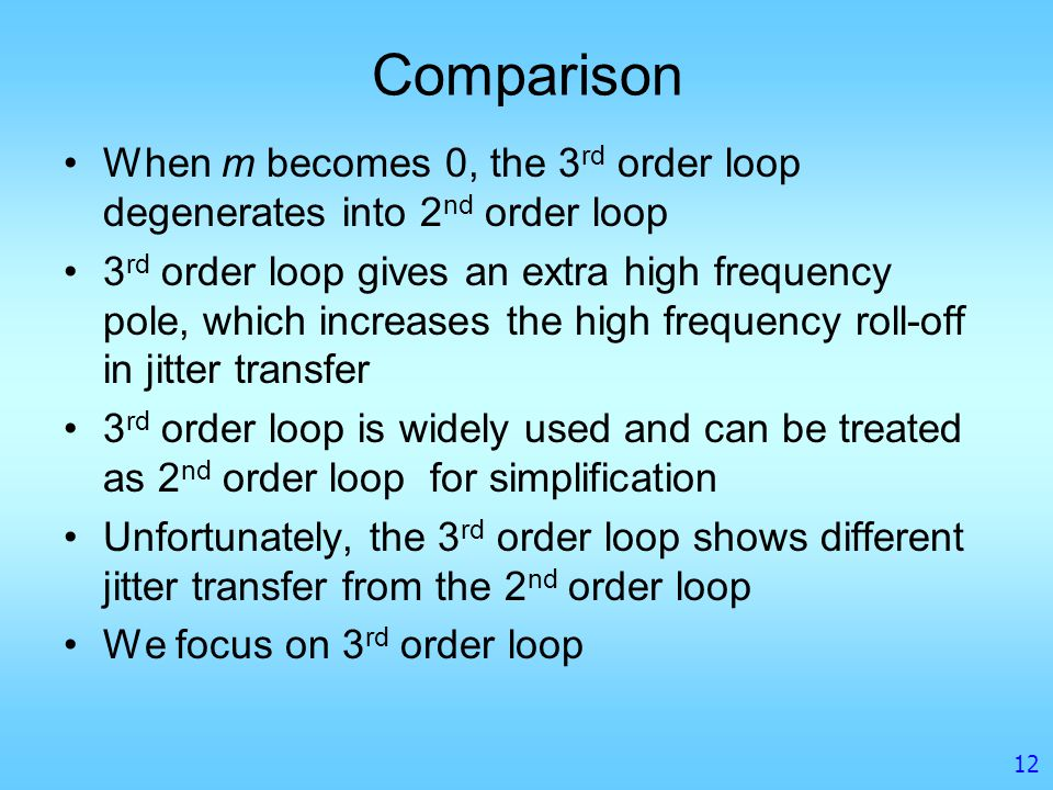 Comparison When m becomes 0, the 3rd order loop degenerates into 2nd order loop.
