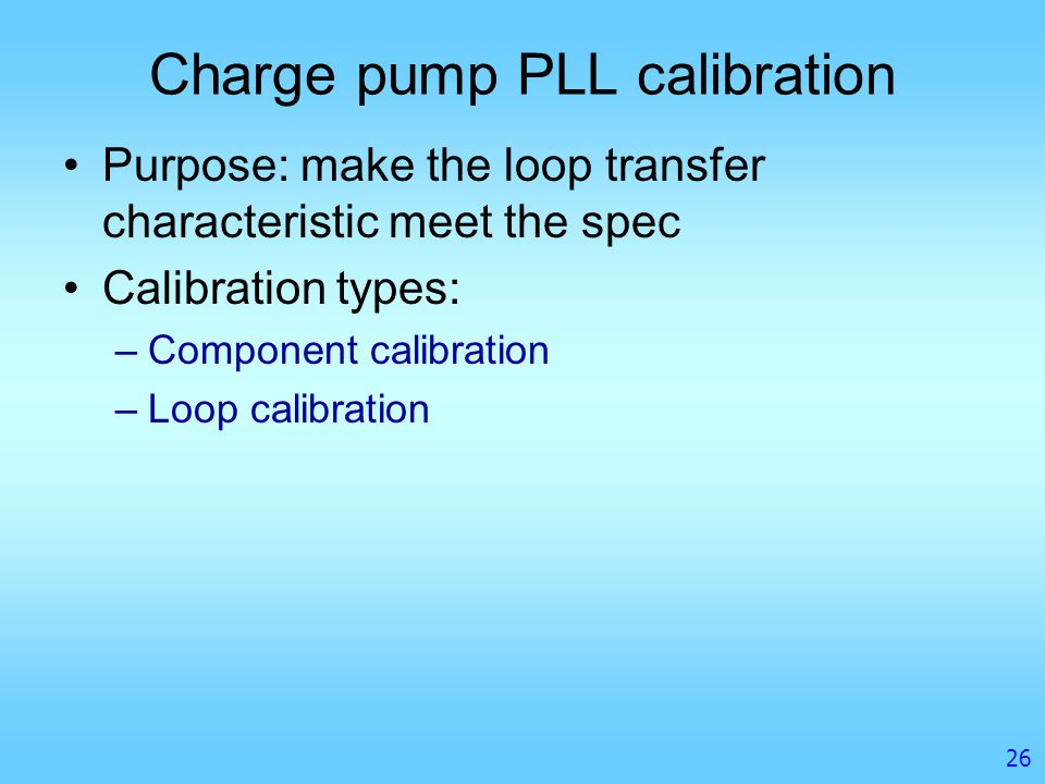 Charge pump PLL calibration