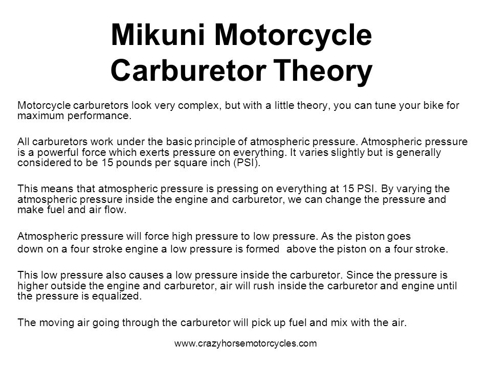 Mikuni Motorcycle Carburetor Theory