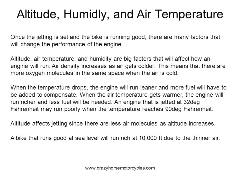 Altitude, Humidly, and Air Temperature