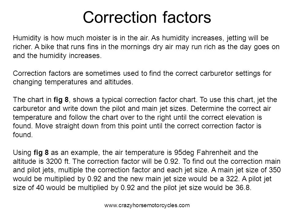 Correction factors