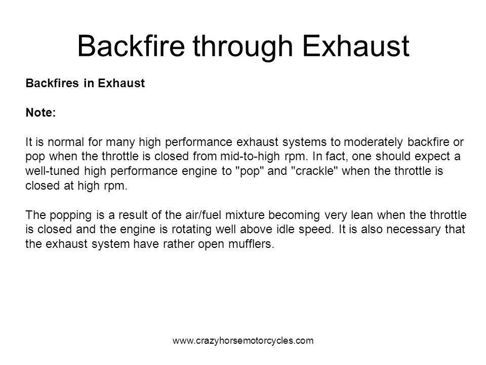 Backfire through Exhaust