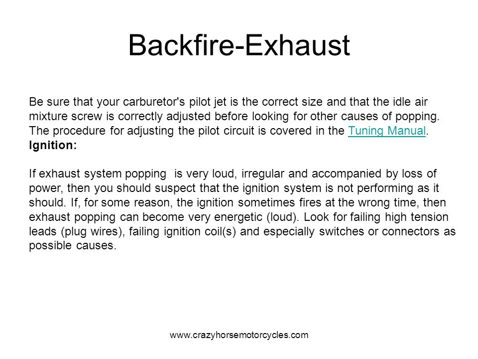 Backfire-Exhaust
