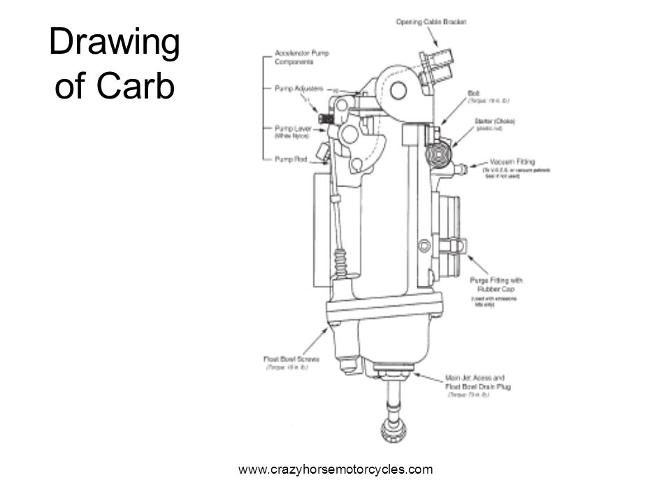 Drawing of Carb www.crazyhorsemotorcycles.com