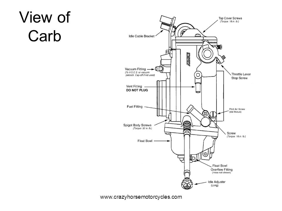 View of Carb www.crazyhorsemotorcycles.com