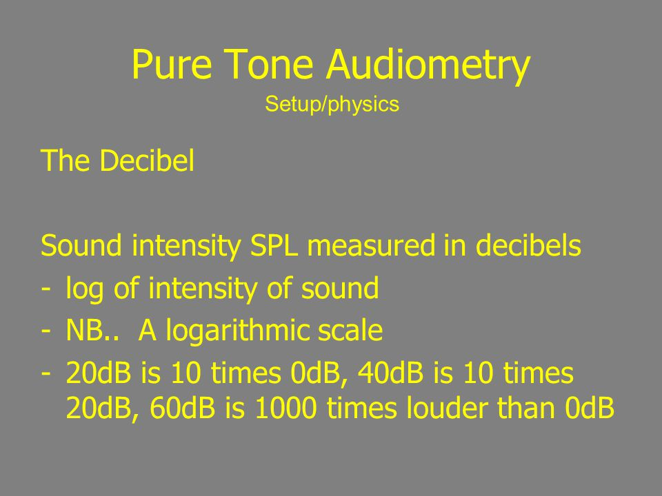 Pure Tone Audiometry The Decibel