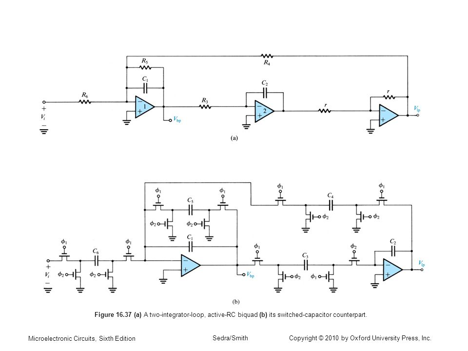 Figure (a) A two-integrator-loop, active-RC biquad (b) its switched-capacitor counterpart.