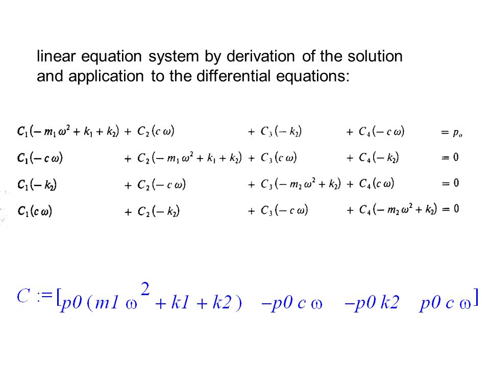 linear equation system by derivation of the solution