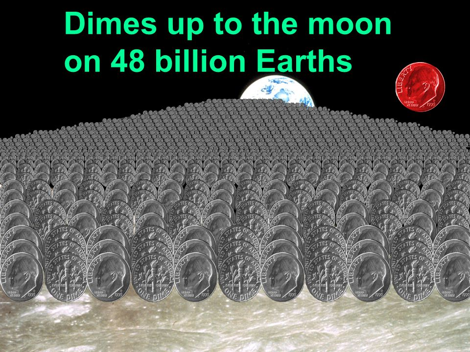 Dimes up to the moon on 48 billion Earths