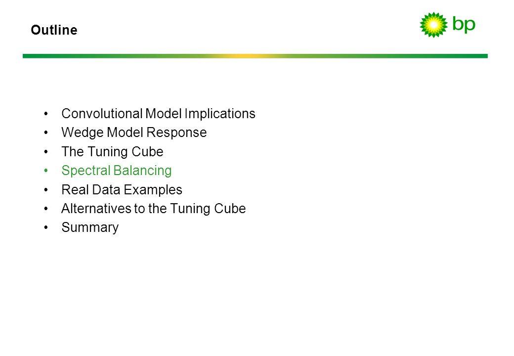 Outline Convolutional Model Implications. Wedge Model Response. The Tuning Cube. Spectral Balancing.