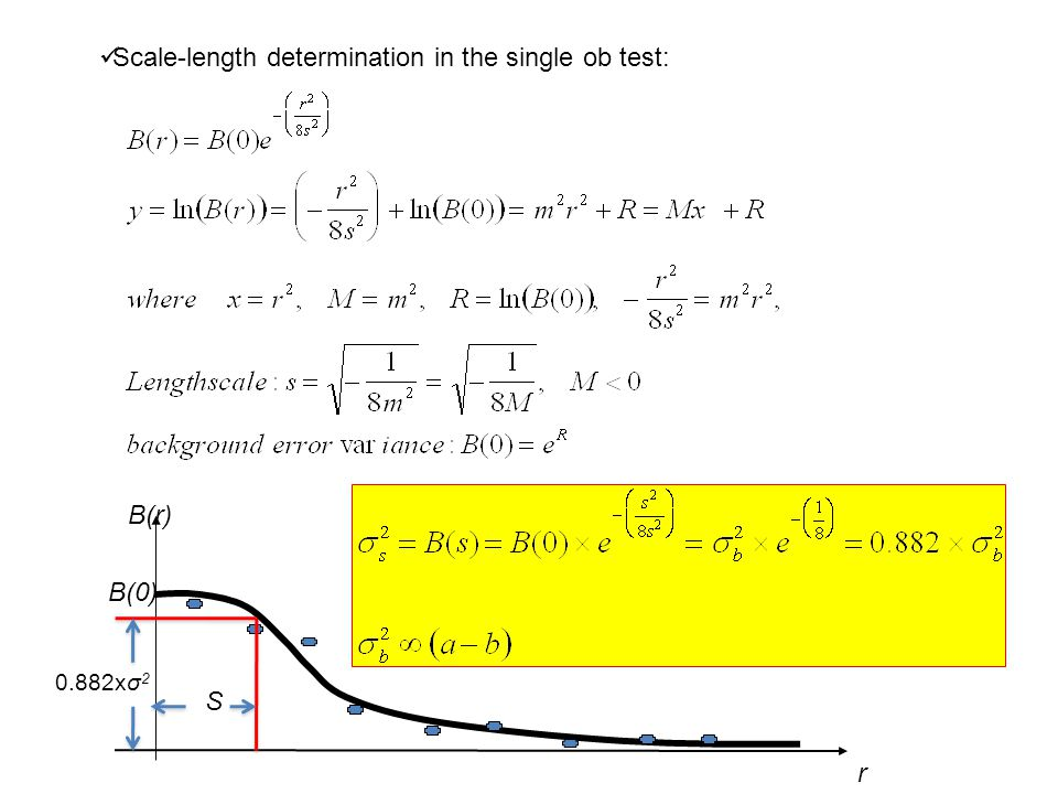 Scale-length determination in the single ob test: