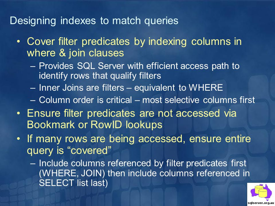 Designing indexes to match queries
