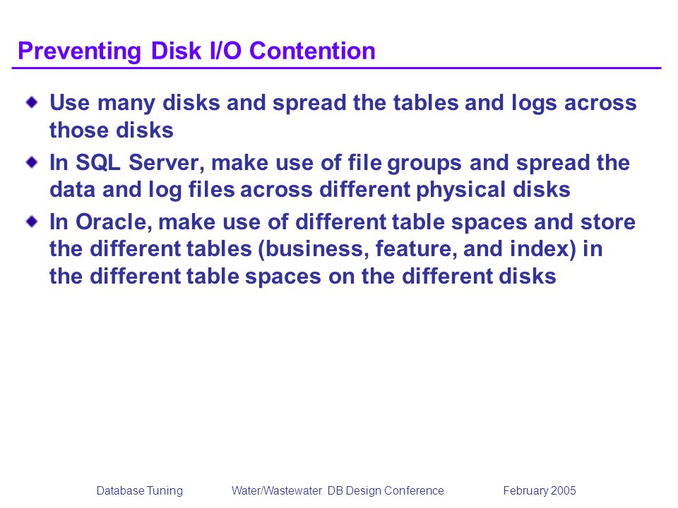 Preventing Disk I/O Contention
