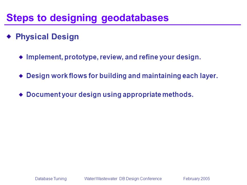 Steps to designing geodatabases