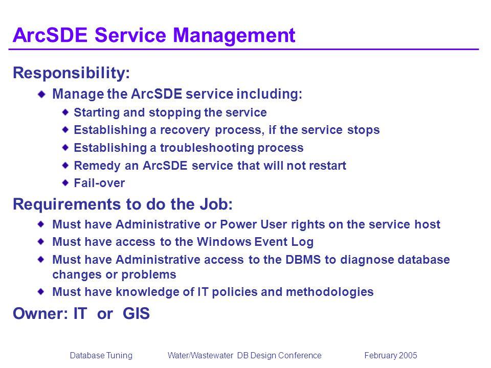 ArcSDE Service Management